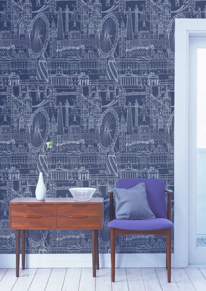 London Skyline Wallpaper - Graduate Collection - Lime Lace Interiors