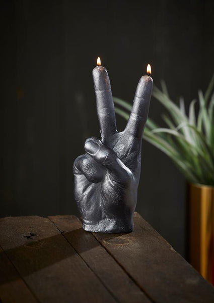 Peace Out Hand Candle