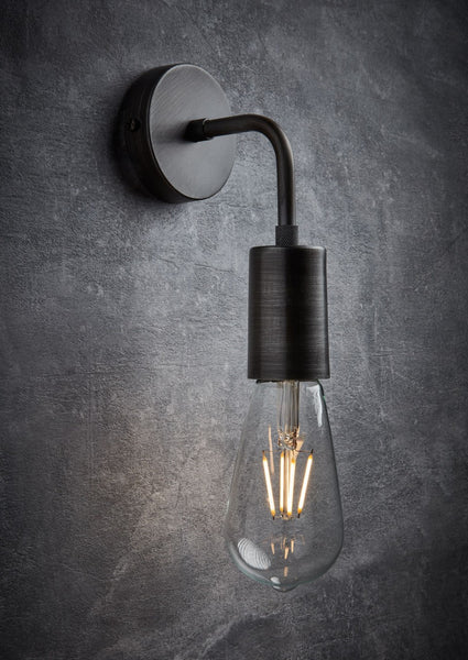 Vintage Sleek Edison wall Light in Pewter