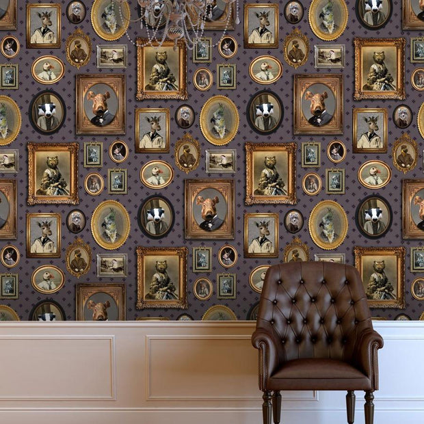 Portrait Gallery Wallpaper - Mauve - Graduate Collection