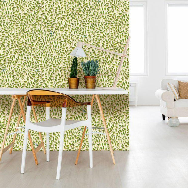 A Thousand Leaves Wallpaper- Light by Carmine Lake on wall in living space