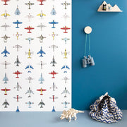 sky full of vintage toy airplanes printed on a stunning crisp white backdrop