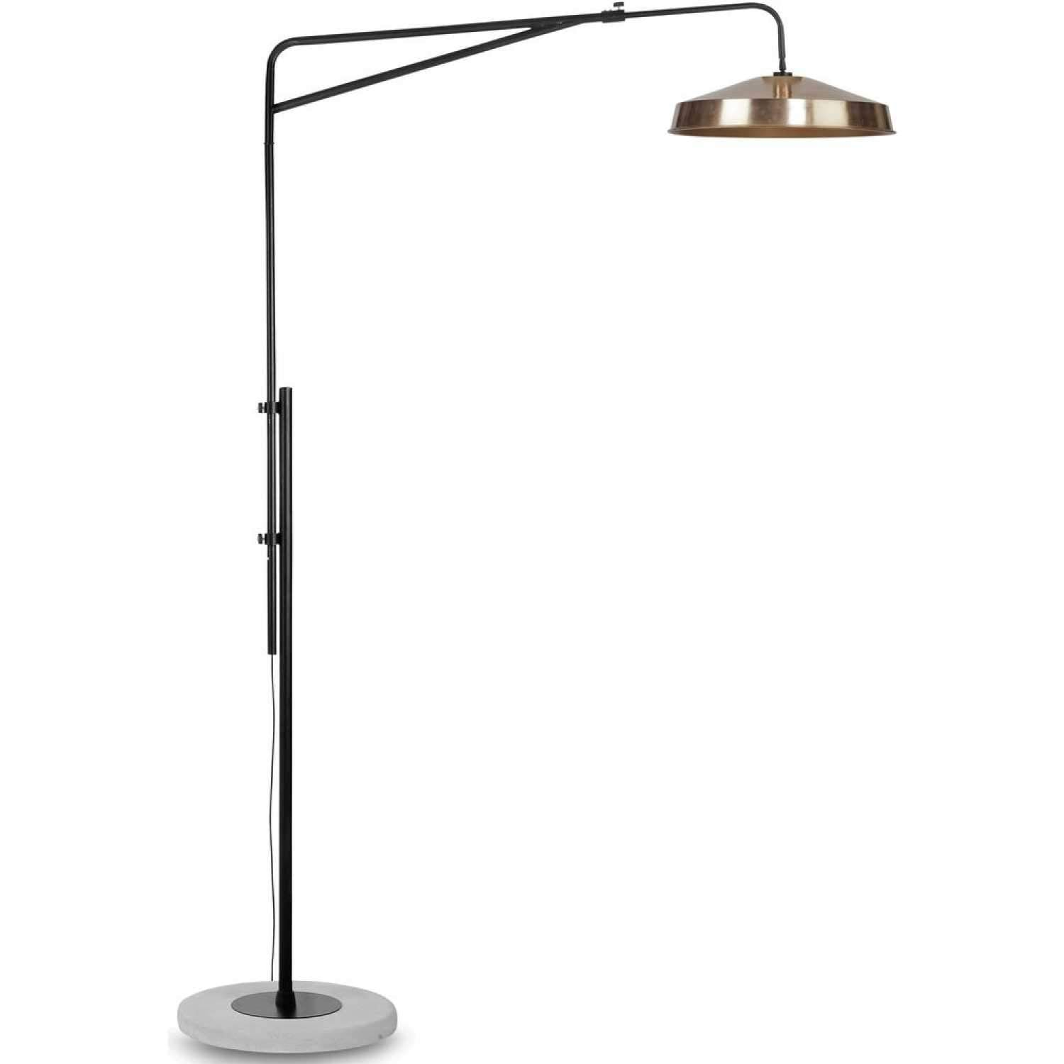 Crawford Chrome Tripod Floor Lamp with XL Grey and Chrome Reni Shade