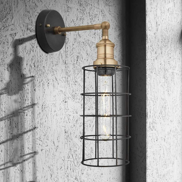 Brooklyn Wire Cage Cylinder Wall Light - Pewter - Industville