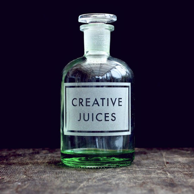Creative Juices Etched Apothecary Bottle-[vinegar & brown paper]-Lime Lace