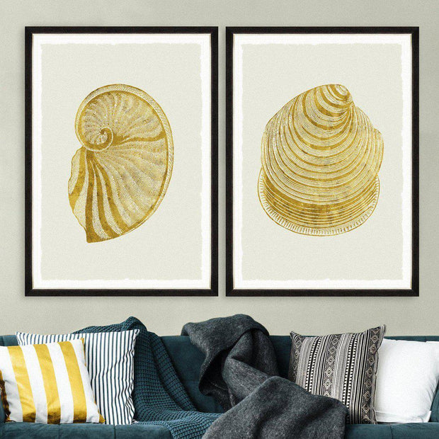 Golden Seashell I Framed Wall Art - MINDTHEGAP-Lime Lace