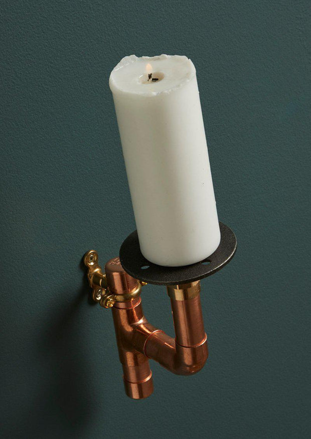 Industrial Copper Pipe Candle Wall Sconce