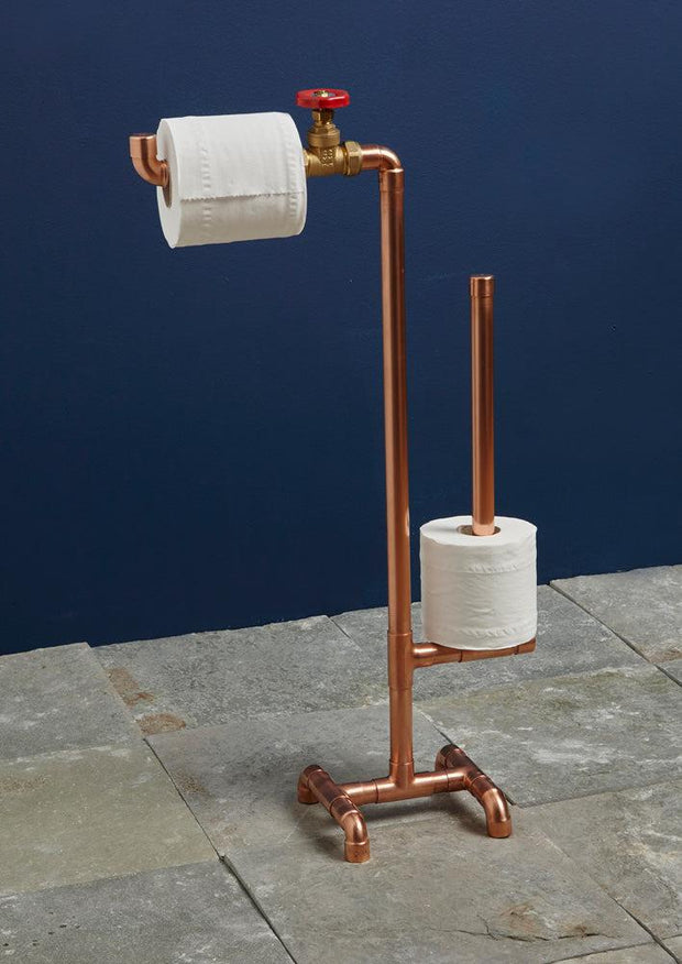 Industrial Copper Pipe Toilet Roll Stand-Lime Lace-Lime Lace