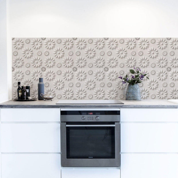 KitchenWalls Wallpaper Splashback - 3D Flower-Lime Lace