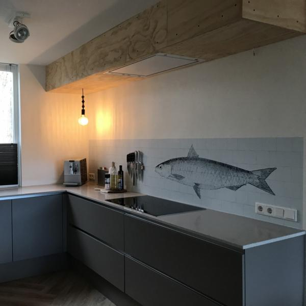 KitchenWalls Wallpaper Splashback - Fish-Lime Lace