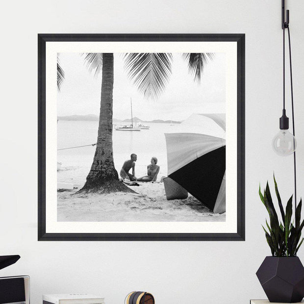 On The Beach Framed Wall Art - MINDTHEGAP-Lime Lace