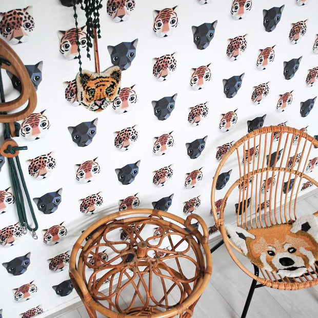 features beautiful jaguars, panthers and tigers in warm natural colours printed on a stylish white backdrop