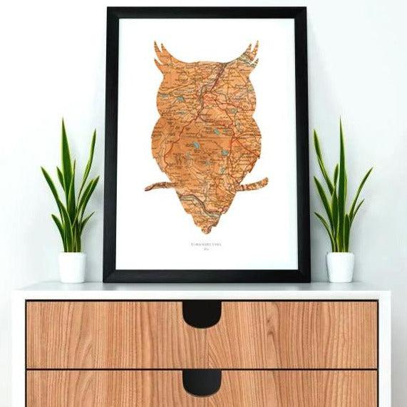 Personalised Vintage Owl Map Print