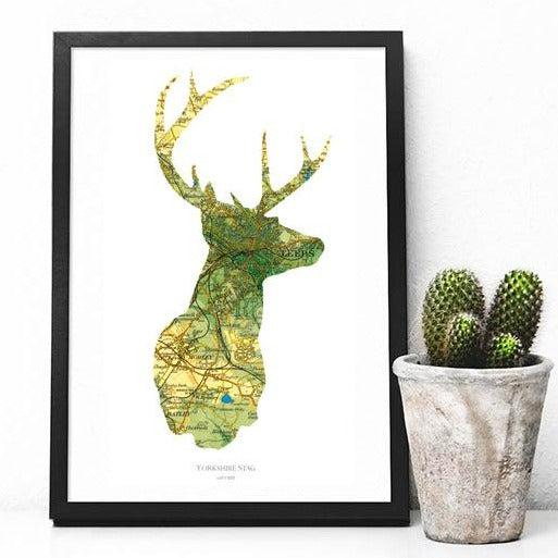 Personalised Vintage Stag Map Print
