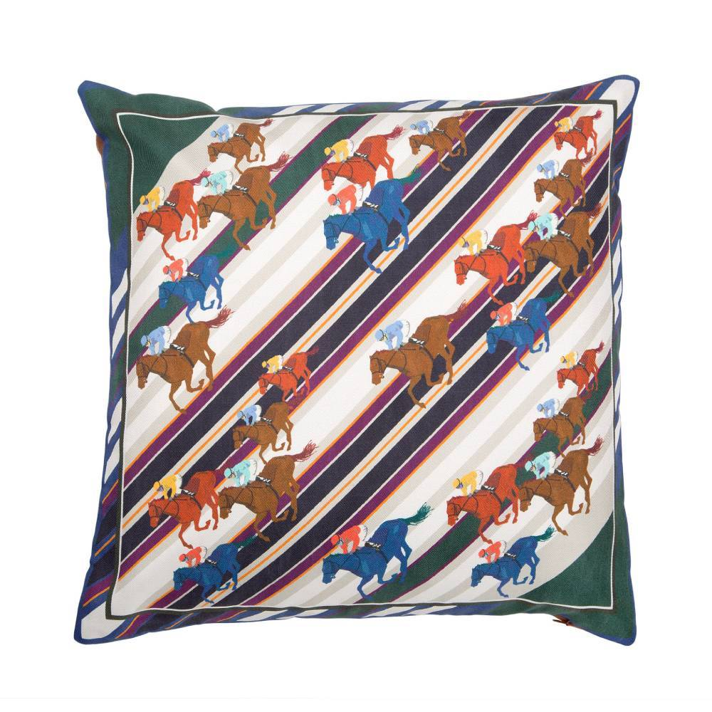 Racing Stripes Silk Twill And Faux Leather Cushion