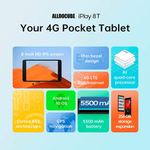 "Load image into Gallery viewer, ALLDOCUBE iPlay 8T Android 10 Tablet (8.0"" 1280*800 Display, 4G LTE, 3GB RAM, 32GB ROM, UNISOC SC9832E CPU, 2.0MP & 2.0MP Camera, GPS, Bluetooth 4.2)"