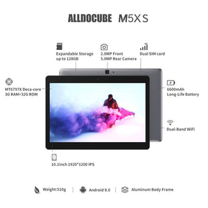 "ALLDOCUBE M5XS Android 8.0 Tablet (10-core MTK X27 CPU, Dual 4G LTE, 10.1"" 1920*1200 IPS Display, 3GB RAM, 32GB ROM, 2.0MP & 5.0MP Camera, GPS)"
