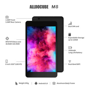 "ALLDOCUBE M8 Android 8.0 Dual 4G LTE Tablet (8"" 1920*1200 IPS, 10-core MTK X27 CPU, 3 GB RAM, 32 GB ROM, 2.0MP & 5.0MP Camera, GPS)"