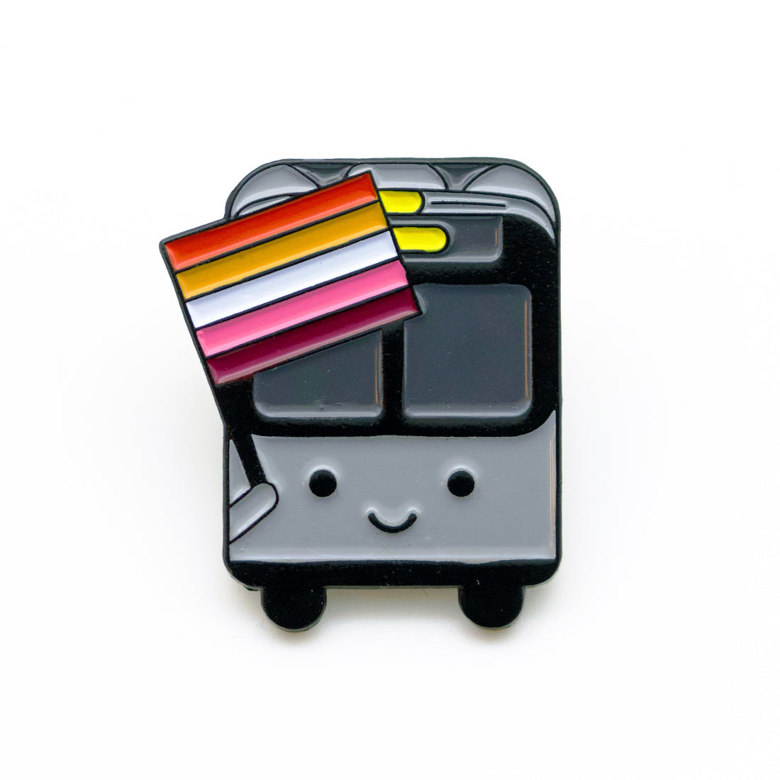 Bus with Lesbian Flag Pin