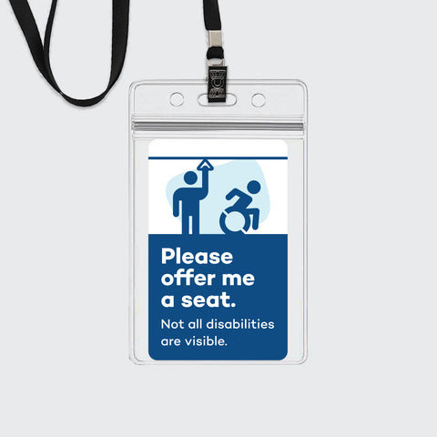 "Lanyard + Sticker: ""Please Offer Me a Seat"""
