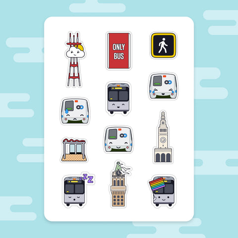 Sticker Sheet: Happy SF Transit, V2