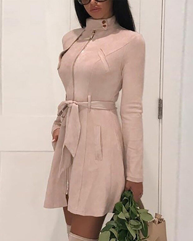 Solid Color Suede Fabric Zipper Midi Dress
