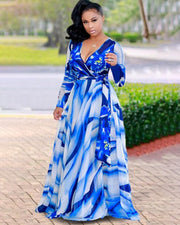 Plus Size Fashion Flowers Print Maxi Dress