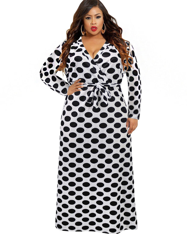 Wave Point Print Fashion expansion Maxi Dress