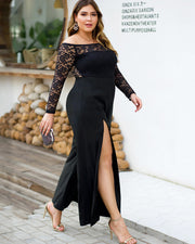 Lace Contrast Split Thigh Off Shoulder Plus Midi Dress