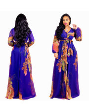 Plus Size Chiffon Fashion Print Maxi Dress