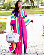 Color Stripe Deep V Maxi Dress
