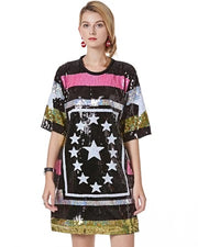 Plus Stars Stripe Shirt Dress With Sequins