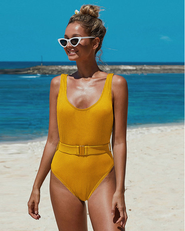 Ready To Buckle One Piece Belted Swimsuit