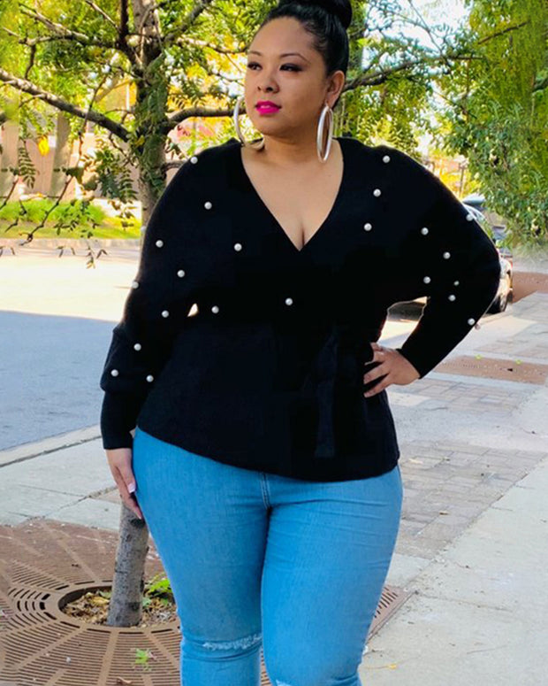 Stay Classy Black/Pink Plus Size Sweater
