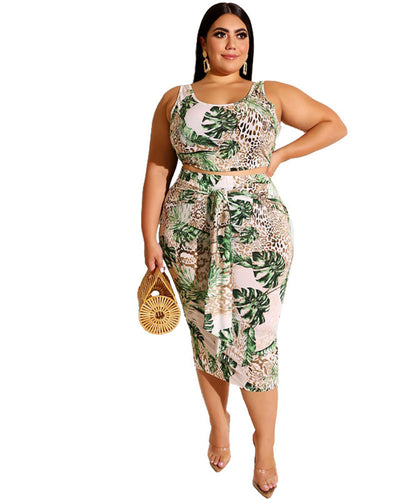 Plus Monstera Deliciosa Print Cut Out Side Two Piece Set