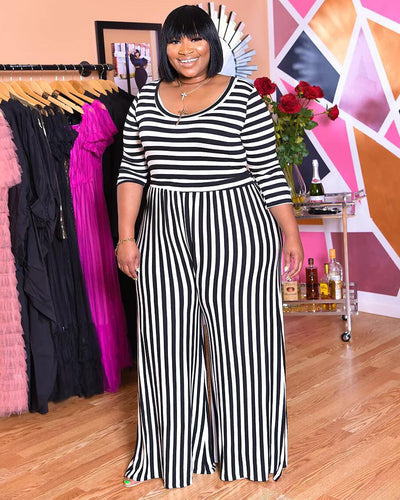 Plus Black & White Stripe Prints Jumpsuits