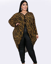 You Know Her Leopard Cape Plus size Coat