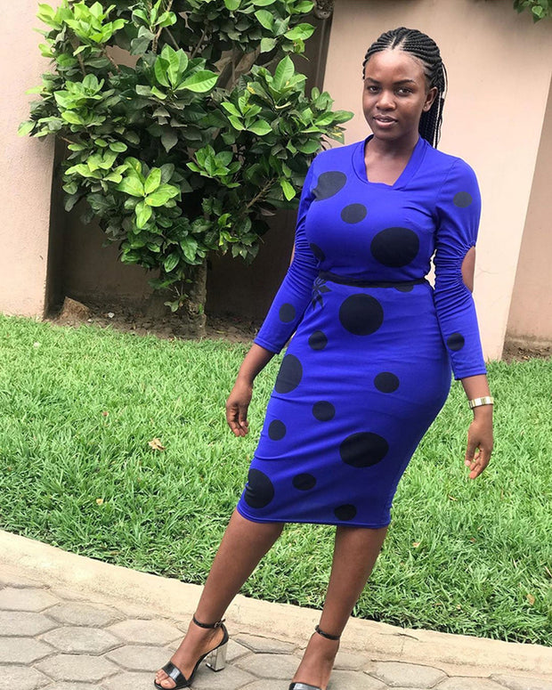 Spotted With You Blue Midi Dress