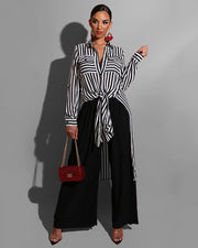 Irregular Black & White Stripe Shirt