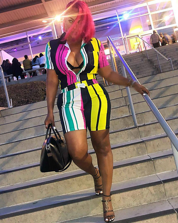 Colorful Strips Short Sleeve Two Piece Set