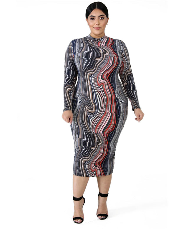 Plus Multi Stripe Bodycon Dress