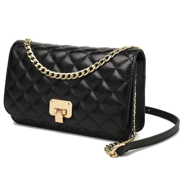 Push Lock Detail Quilted Chain Bag