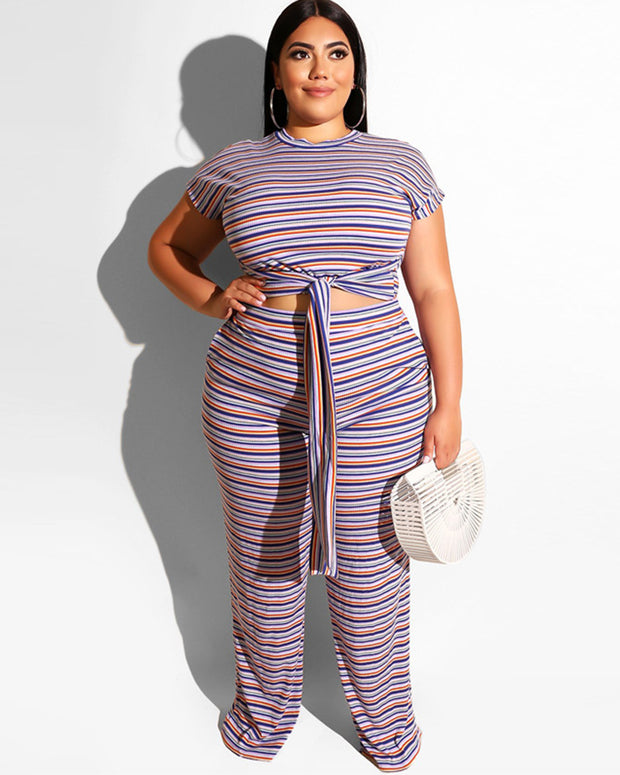 Plus Stripe Two Piece Set