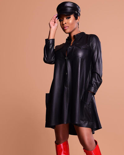 Throwback And Smile Black Vegan Leather Dress