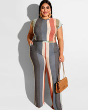 Plus Stripe Prints Two Piece Set