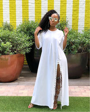 Pure Color High Split Maxi Dress