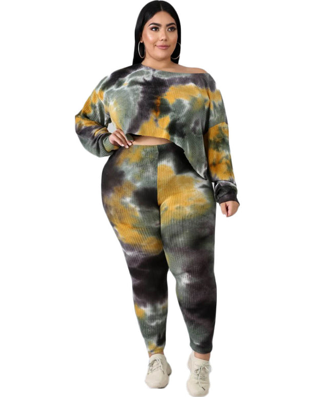 Plus Camo Tie Dye Two Piece Set