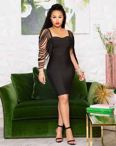 Feel The Rush Special Sleeve Bodycon Dress