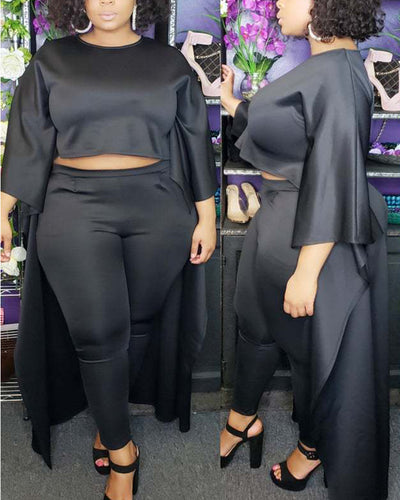 Plus Love Not Logic Black Two Piece Set