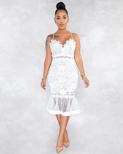 Wishful Thinking Lace Midi Dress